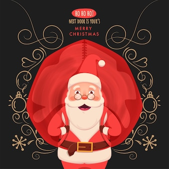 Illustration of cheerful santa claus carrying a red heavy bag with floral motif, snowflake and bauble on dark grey background for merry christmas.