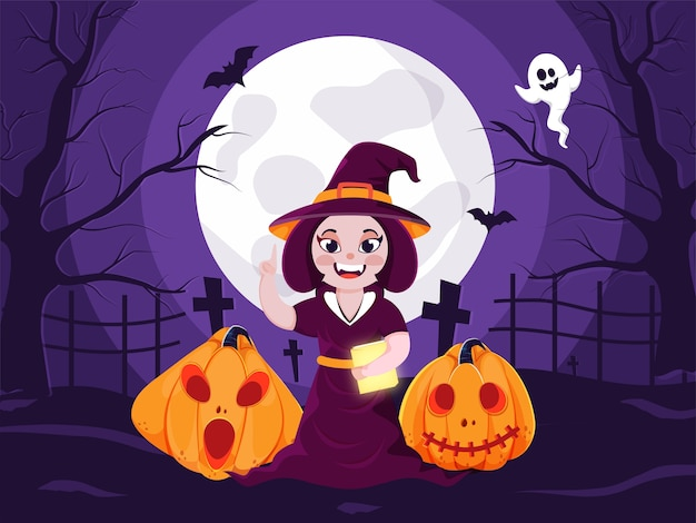 Illustration of cheerful witch holding book with jack-o-lanterns, flying bats and ghost on full moon purple graveyard view background.
