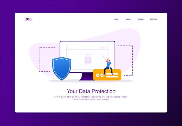 Illustration of cheerful woman sitting on the external hard disk with monitor and shield. modern flat design security concept, landing page template.