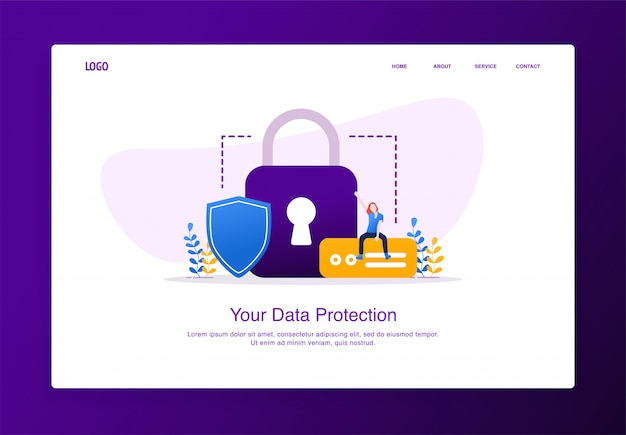 Illustration of cheerful woman sitting on the external hard disk with padlock and shield. modern flat design security concept, landing page template.