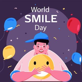 Illustration of cheerful young man holding emoji