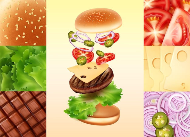 Illustration of cheeseburger in exploded view with tomato, cheese, onion, jalapenos, beef, lettuce and bun with sesame.