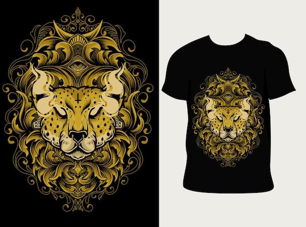 Иллюстрация головы гепарда с гравировкой орнамента на дизайне футболки