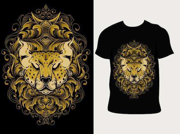 Illustration cheetah head with engraving ornament on t shirt design