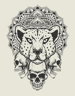 Иллюстрация головы гепарда с черепом и мандалы монохромный стиль