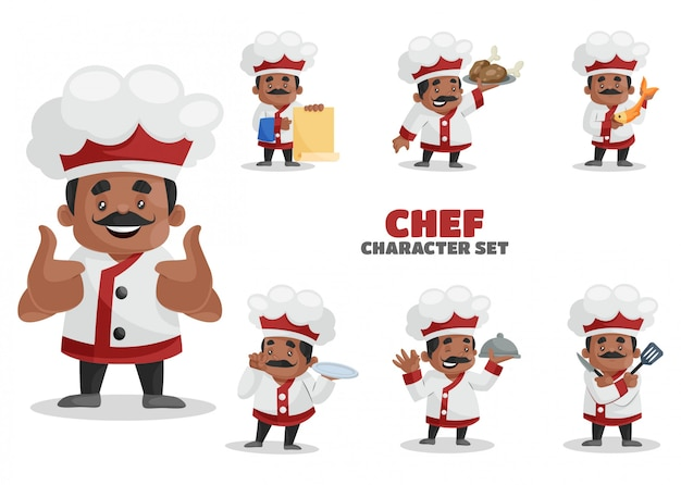 Illustration of chef character set