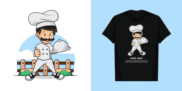Illustration of chef with t-shirt design