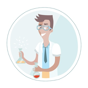 Illustration of chemist is holding a flask in his hands