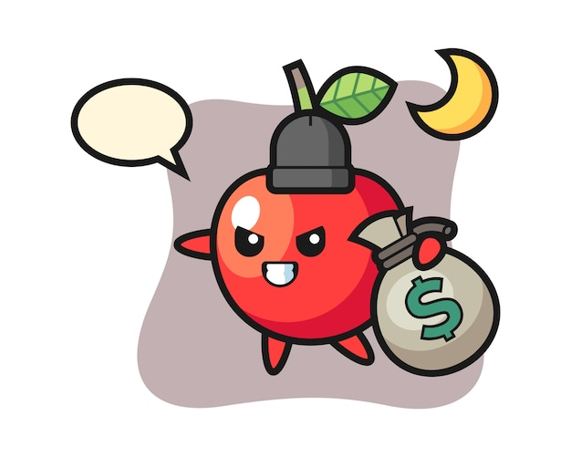 Illustration of cherry cartoon is stolen the money, cute style design
