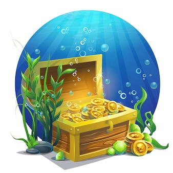 Illustration chest with coins