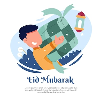 Illustration of a child carrying typical eid food