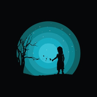 Illustration of a child's logo design, silhouette of a child