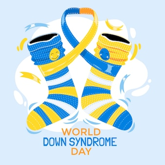 Illustration of child socks for world down syndrome day