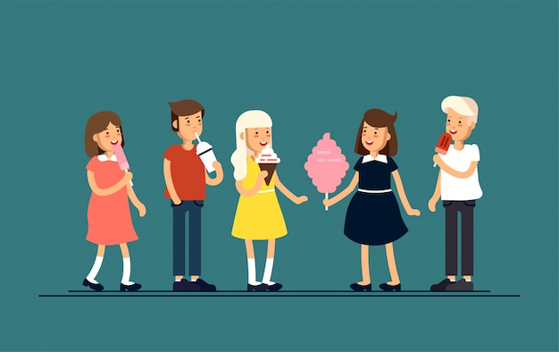 Illustration of children feeling happy and eat sweets like ice cream, milkshake and cotton candy. children on holiday vacation. childhood.