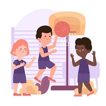 Illustrazione di bambini in classe di educazione fisica