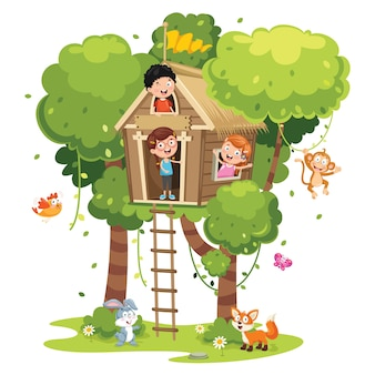 Illustration of children playing at tree house