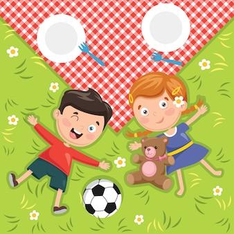 Illustration of children's picnic