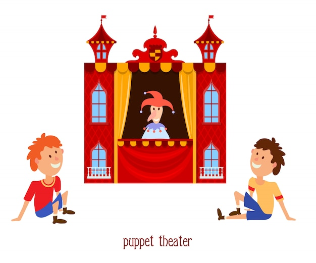 Illustration of children's puppet theater with a doll clown and child