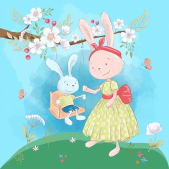 Illustration for a children's room - cute rabbits mom and son on a swing with flowers