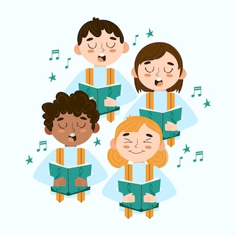 Illustration of children singing together in a choir