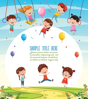 Illustration of children swinging