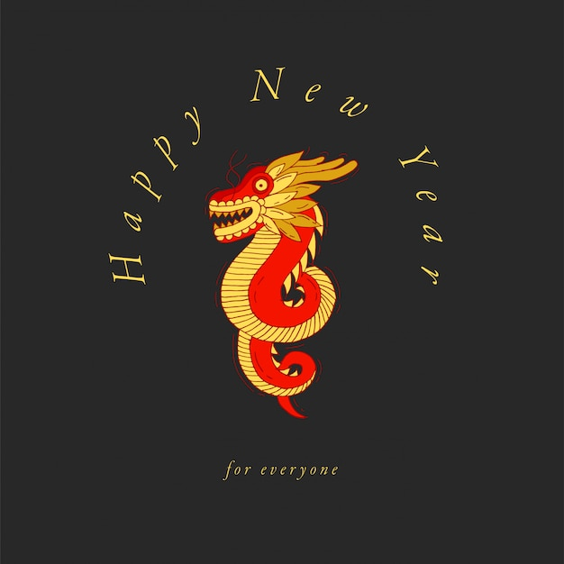 Illustration chinese red and golden dragon on white background. happy chinese greetings. hand drawn sketch for decorative design of asian culture celebrations.