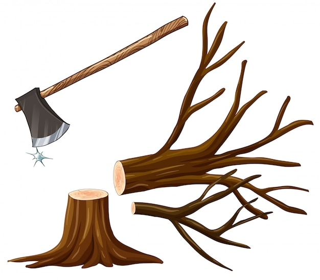 Illustration of chopping wood with axe