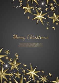 Illustration of christmas background with christmas gold stars snowflake and confetti gold colors,