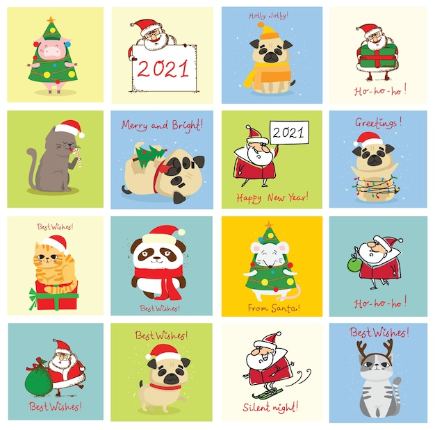 Illustration of christmas cats, pigs, rats and dogs with christmas and new year greetings. cute pets with holiday hats and presents.