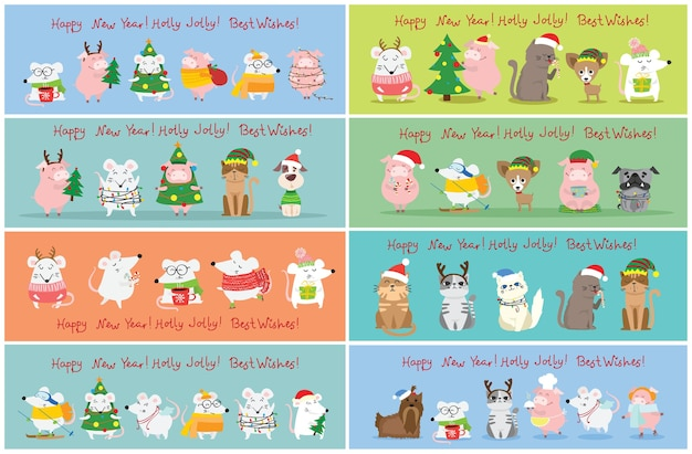 Illustration of christmas cats, rats, pigs and dogs with christmas and new year greetings. cute pets with holiday hats in flat style
