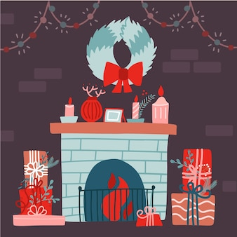 Illustration of a christmas, decorated room with brick wall, fireplace, floral wreath, gift boxes. festive christmas interior. flat illustration.