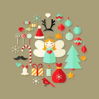 Illustration of christmas flat icons cute set over light brown