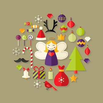Illustration of christmas flat icons set over light brown