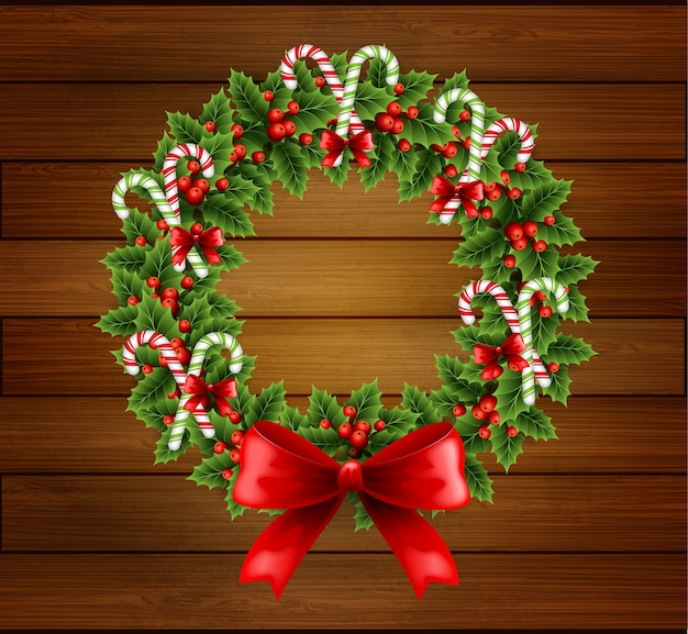 Illustration christmas holly wreath with red bow in wood background