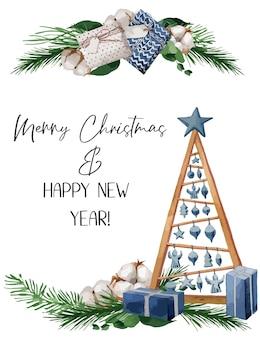 イラスト、モミの枝、ベリー、綿のクリスマスイラスト