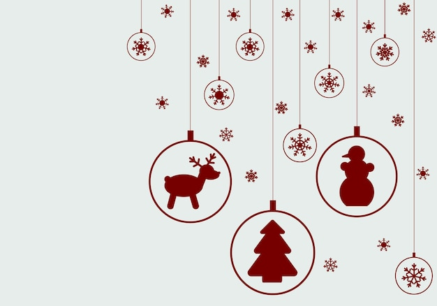 Illustration for a christmas or new year card, poster, poster or flyer. greeting card with snowflakes and balls