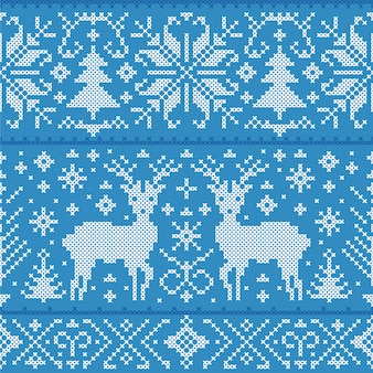 Illustration of christmas seamless pattern with deers, trees and snowflakes