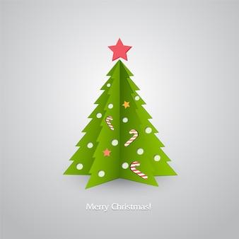 Иллюстрация рождественская елка в красном фоне.