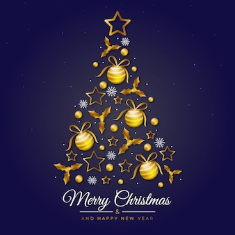 Illustration of christmas tree made of realistic golden decoration