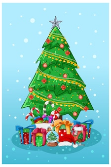 Illustration of christmas tree with some gifts and candy