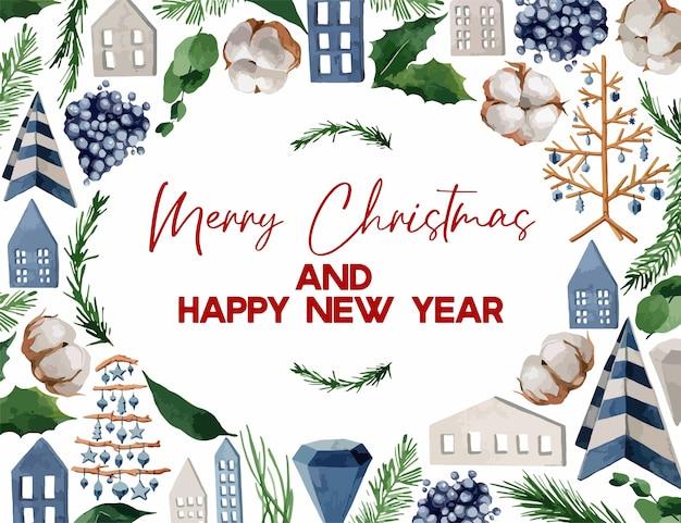 イラスト、モミの枝、ベリー、綿のクリスマスリース