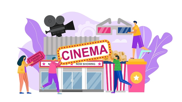 Illustration of cinema with people and production elements