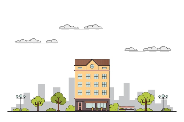 Illustration of a city landscape with townhouse, trees, streetlight. bench and clouds.