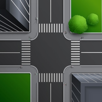 Illustration of city street concept with crossroad