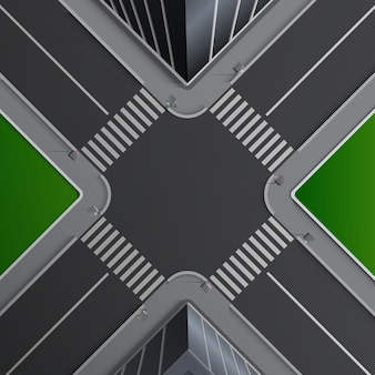 Illustration of city street concept with markings of pedestrian crossings