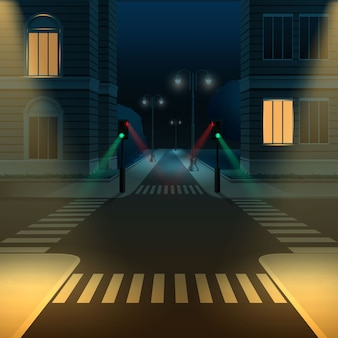 Illustration of city street road intersection or crossroad with traffic lights at dark night