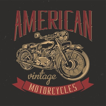 Illustration of classic american motorcycle