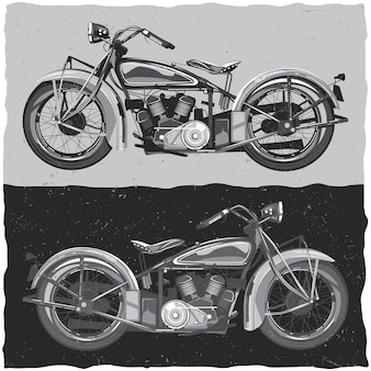 Illustration of classic motorcycles in black and white