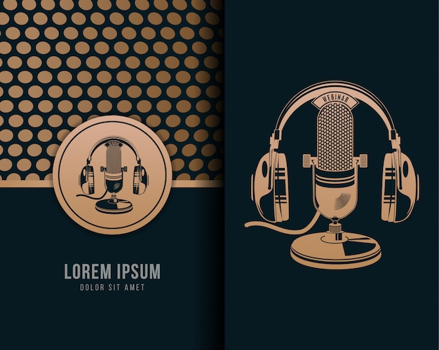 Illustration of classic retro headphone microphone with vintage style