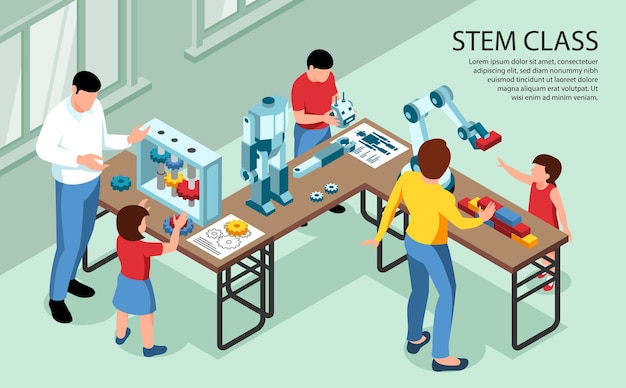 Illustration of classroom with children and adults with robotics